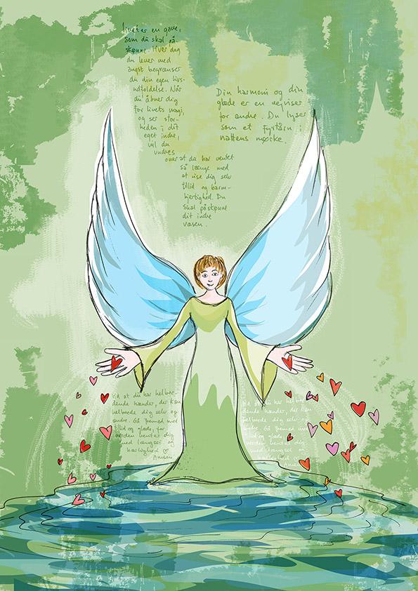 Kanaliseret sjælsbillede. Motivet er en engel, der strømmer hjerter ud af hendes hænder.