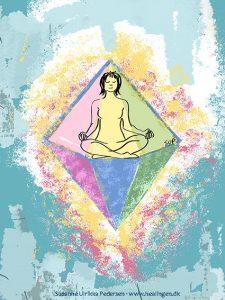 Kanaliseret billede af en kvinde i lotus stilling. Hun er omgivet af en krystal, der virker beskyttende og harmonisk.